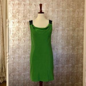 Tibi Green Silk Beaded Dress